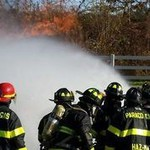 Team of fire fighters spraying hose