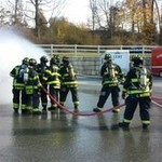 fire fighters training in parking lot