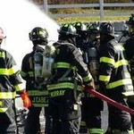 Group of fire fighters training