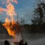 Fire rising through the air