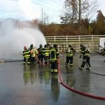Fire fighters going through training